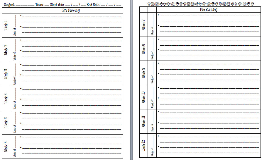 Two Week Look Ahead Template A Teacher S Plan Pre Planning Pages