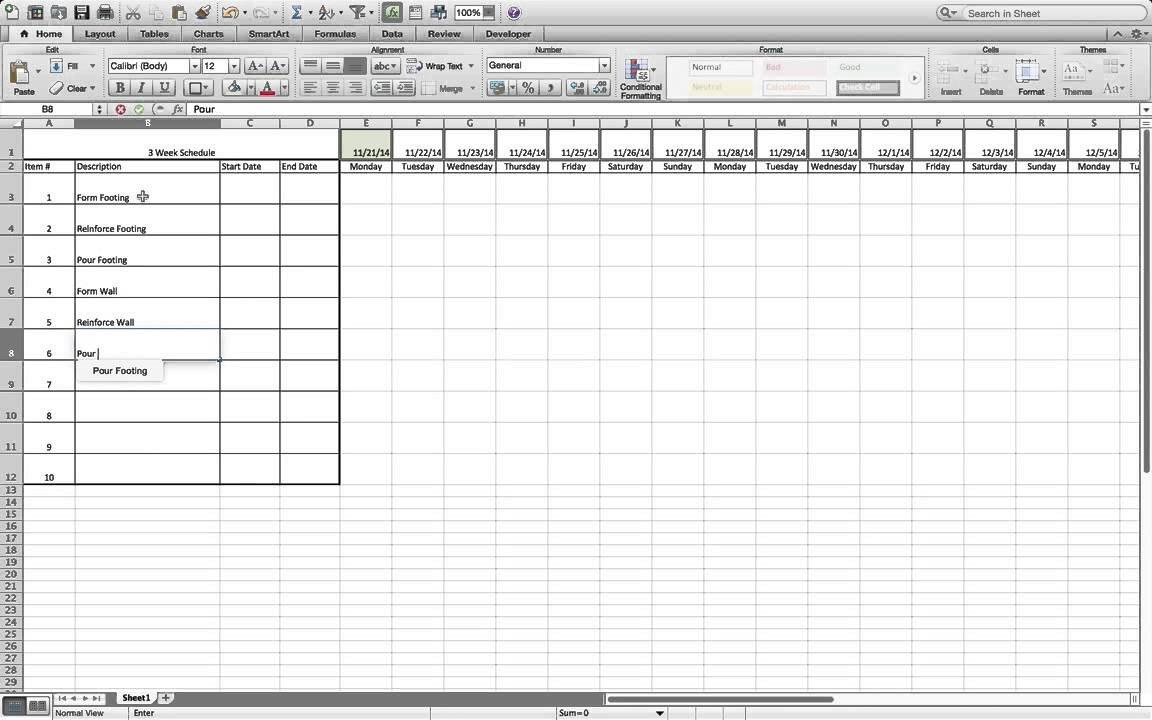 Two Week Look Ahead Template How to Build A Simple Three Week Rolling Schedule In Excel