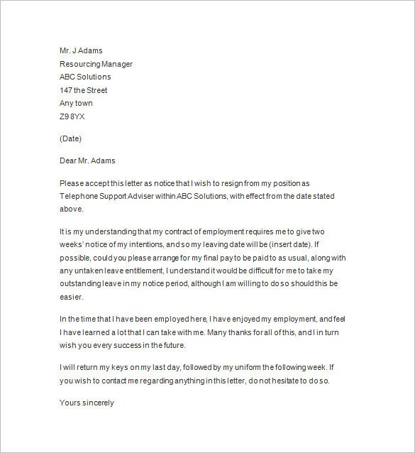 Two Weeks Notice Retail 11 Two Weeks Notice Letter Templates Pdf Google Docs