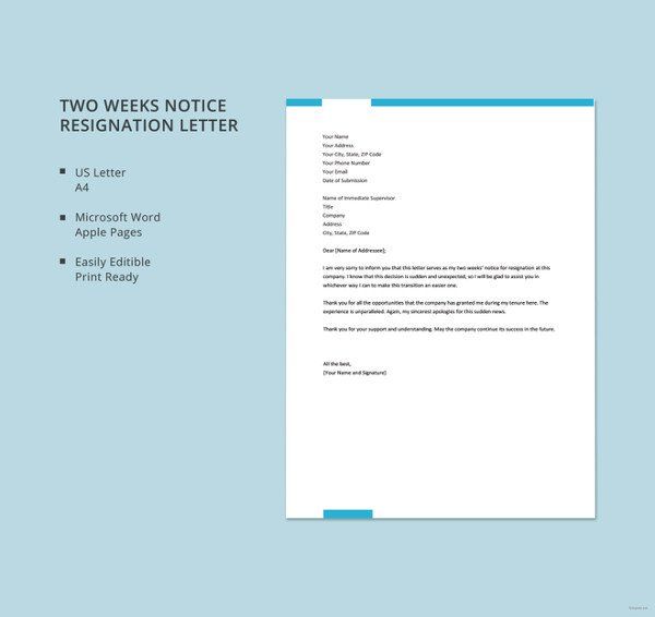 Two Weeks Notice Retail 15 Simple Resignation Letter Templates Free Sample