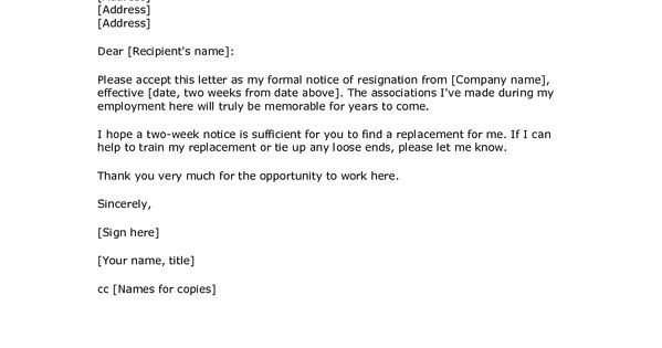 Two Weeks Notice Retail 2 Weeks Notice Letter Resignation Letter Week Notice Words