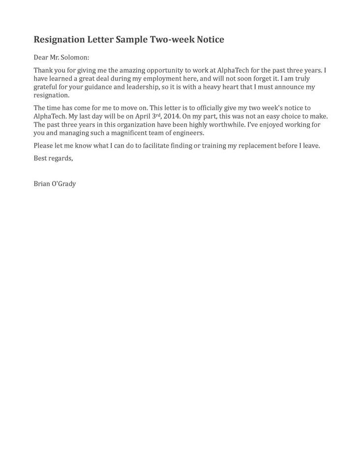 Two Weeks Notice Retail Resignation Letter Sample 2 Weeks Notice Google Search