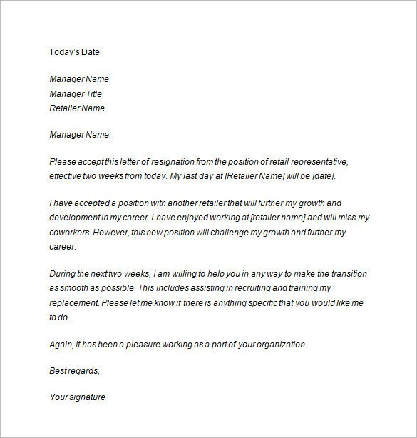 Two Weeks Notice Retail Two Weeks Notice Letter 10 Free Sample Example format