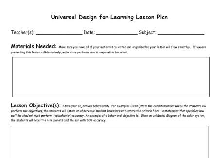Udl Lesson Plan Template assistive Technology Vste09udlplanning