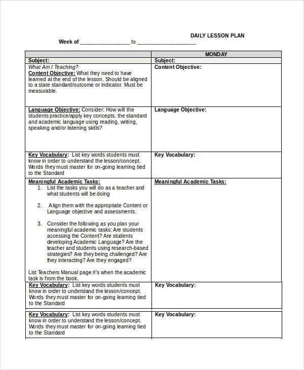 Udl Lesson Plan Template Lesson Plan Template 14 Free Word Pdf Documents