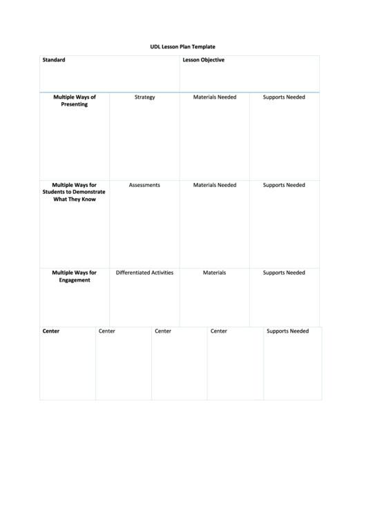 Udl Lesson Plan Template Udl Lesson Plan Template Printable Pdf