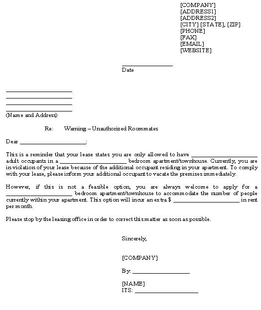 Unauthorized Tenant Letter Template Best S Of Warning Letter to Tenant Tenant Smoking