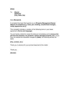 Unauthorized Tenant Letter Template Late Notice Landlord to Tenant Hashdoc Letter to