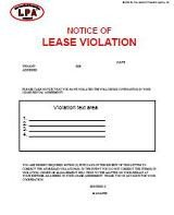 Unauthorized Tenant Letter Template Notice Of Lease Violation