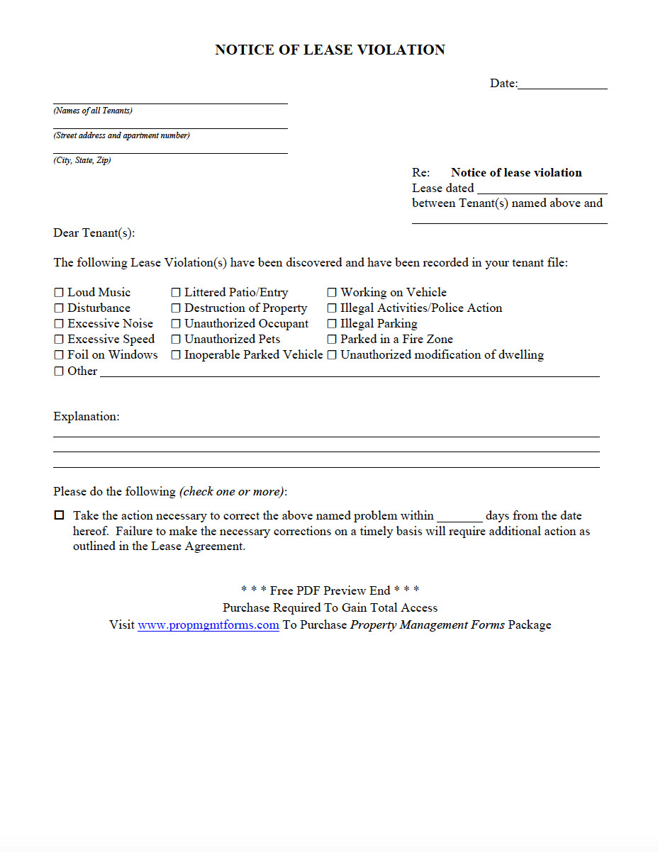 Unauthorized Tenant Letter Template Notice Of Lease Violation Pdf