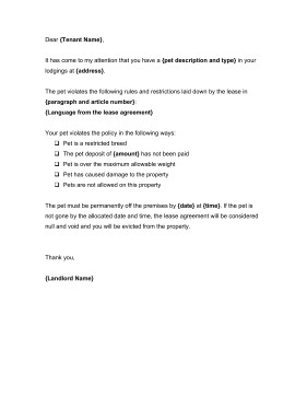 Unauthorized Tenant Letter Template Unauthorized Pet Notice Template