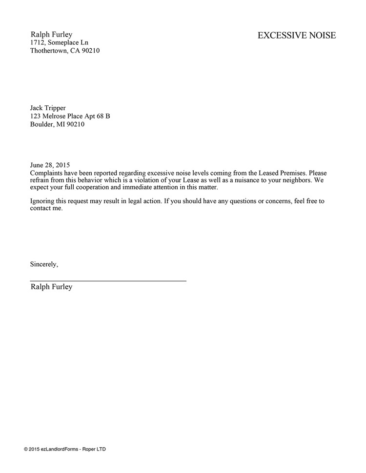 Unauthorized Tenant Letter Template Unauthorized Tenant Letter Template