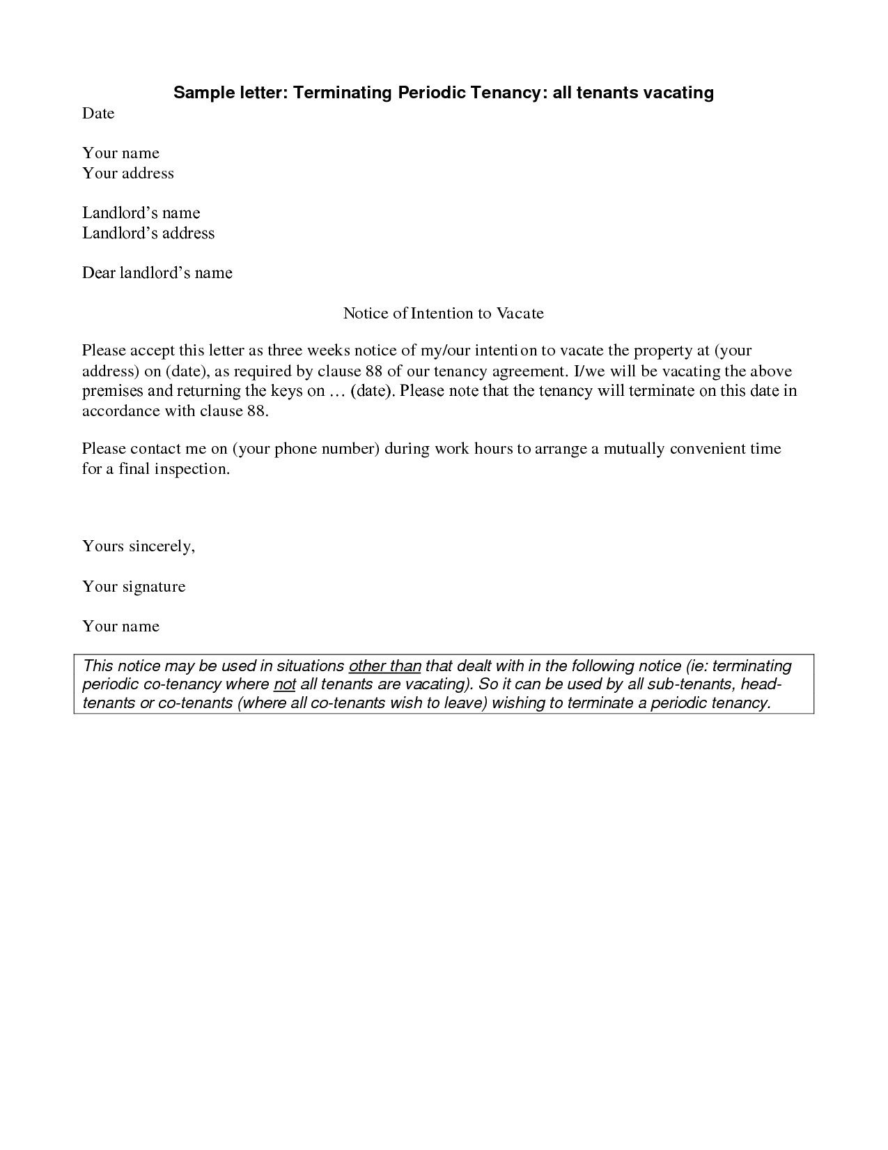 Unauthorized Tenant Letter Template Unauthorized Tenant Letter Template Samples