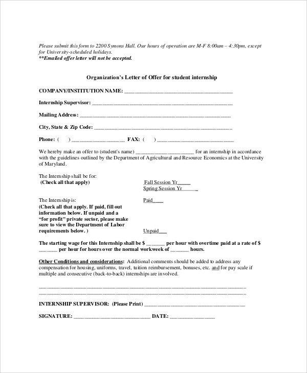 Unpaid Internship Offer Letter 10 Sample Internship Fer Letters Pdf Doc Apple Pages