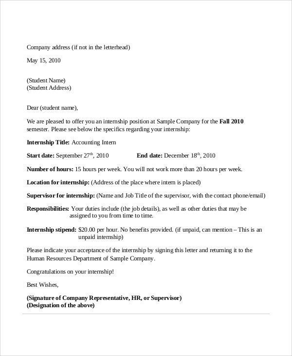 Unpaid Internship Offer Letter 11 Sample Internship Acceptance Letters Pdf Doc