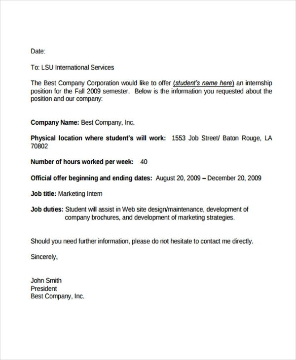 Unpaid Internship Offer Letter 8 Internship Fer Letters Free Samples Examples