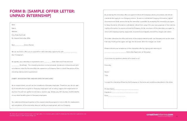 Unpaid Internship Offer Letter Creativeinterns Quick Start Guide
