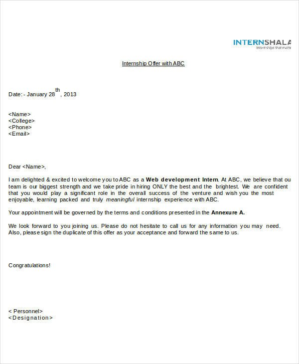 Unpaid Internship Offer Letter Fer Letter Templates In Doc 46 Free Word Pdf