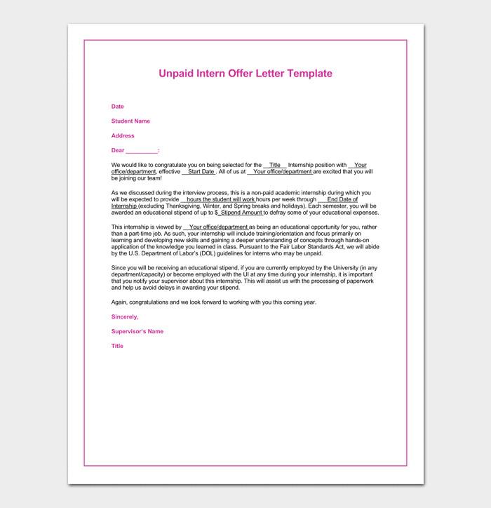 Unpaid Internship Offer Letter Internship Appointment Letter 17 Letter Samples & formats