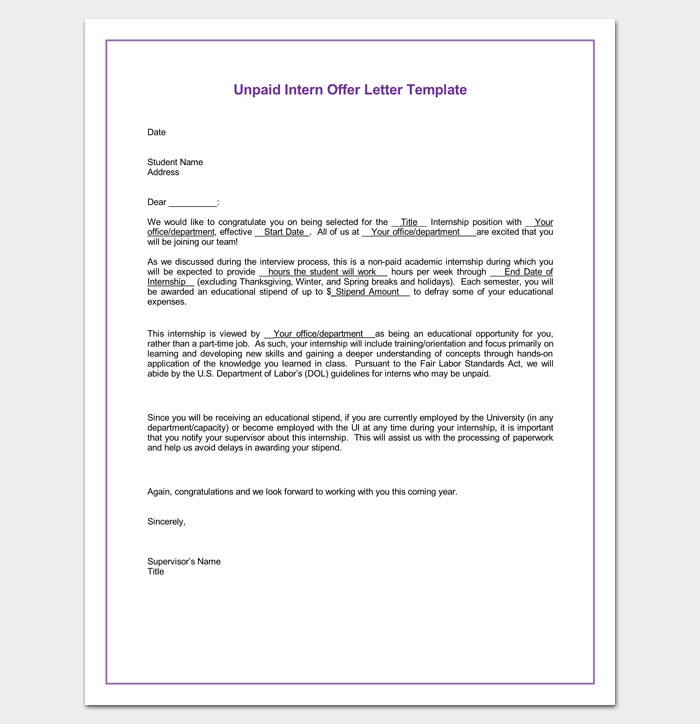 Unpaid Internship Offer Letter Internship Appointment Letter Template 10 Docs formats