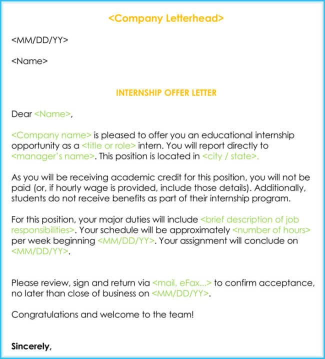 Unpaid Internship Offer Letter Internship Fer & Appointment Letter Template 7