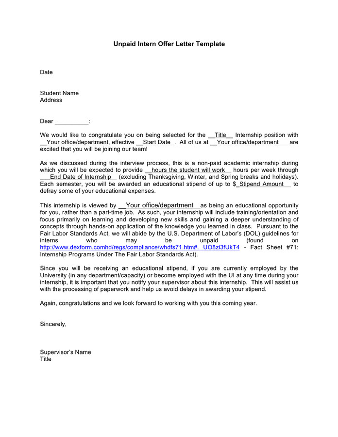 Unpaid Internship Offer Letter Unpaid Intern Offer Letter Template In Word and Pdf formats