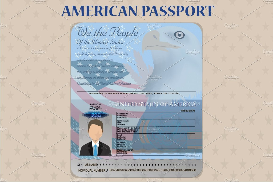 Us Passport Photo Template American Open Passport Vector Illustrations Creative