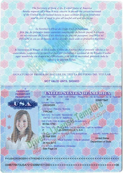 Us Passport Photo Template Drivers License Fake Drivers License Drivers License
