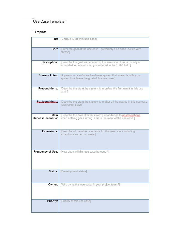 Use Cases Template Word 40 Use Case Templates & Examples Word Pdf Template Lab