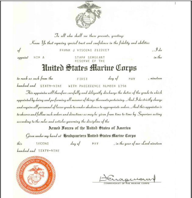 Usmc Promotion Warrant Template Frank Joseph Visconi Vietnam Bat Wounded Bsm