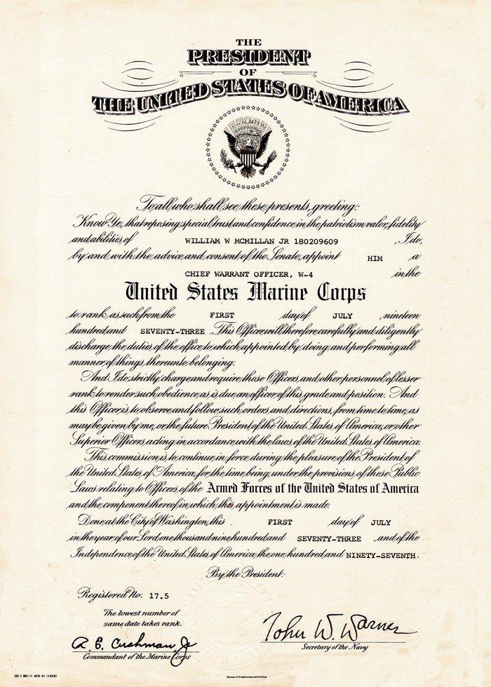 Usmc Promotion Warrant Template Warrant Ficer Promotion Certificate