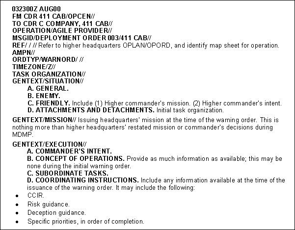 Usmc Warning order Example Fm 3 05 401 Appendix C Products Of Ca Cmo Planning and