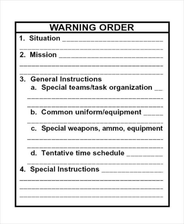 Usmc Warning order Example Warning order Templates