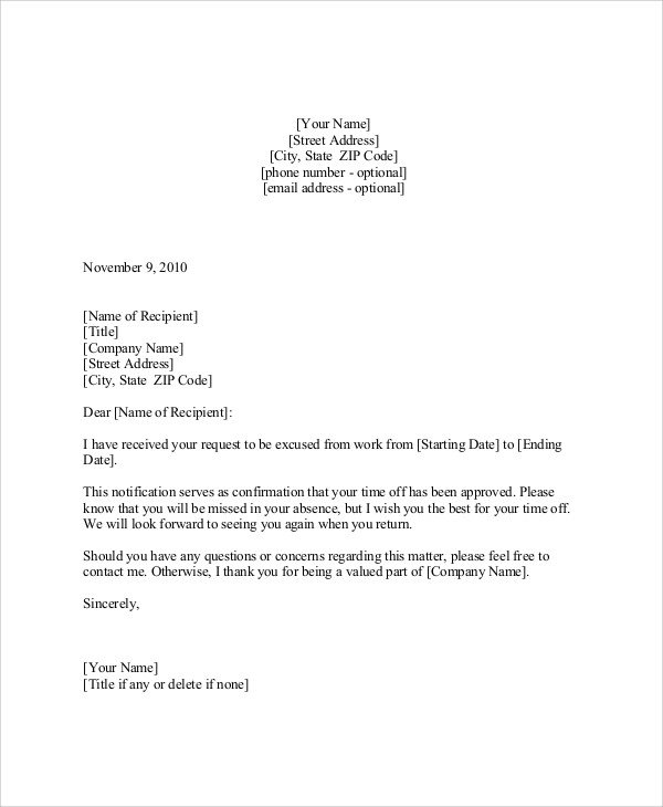 Vacation Leave Letter Sample 9 Sample Vacation Request Letters Pdf Doc Apple Pages