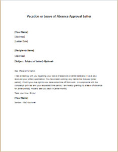 Vacation Leave Letter Sample Vacation or Leave Of Absence Approval Letter