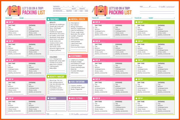 Vacation Packing List Template 14 Vacation Packing List Template