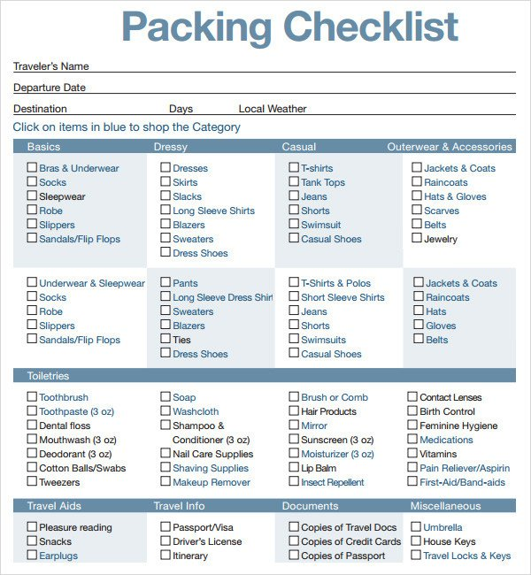 Vacation Packing List Template Packing Checklist Template 16 Download Free Documents