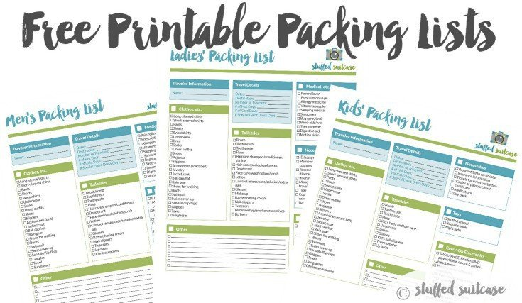 Vacation Packing List Template Packing List Template Printable Stuffed Suitcase