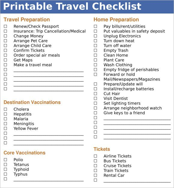 Vacation Packing List Template Sample Travel Checklist – 8 Example format
