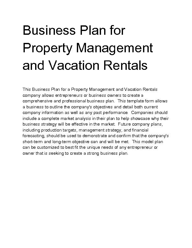 Vacation Rental Business Plan Template Vacation Rental Business Plan Template Business Plan On