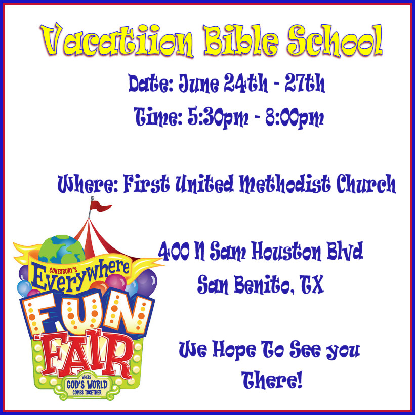 Vbs Flyer Template All Saints Episcopal Church In San Benito Tx Church