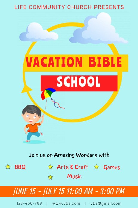 Vbs Flyer Template Blue Vacation Bible School Template