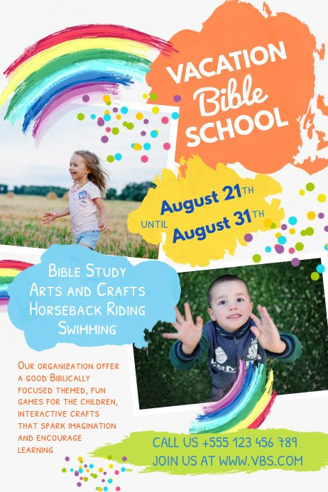 Vbs Flyer Template Colorful Vacation Bible School Poster Template