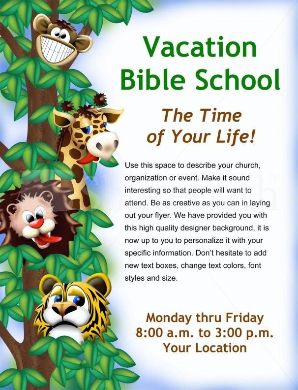 Vbs Flyer Template Vacation Bible School Flyer Template