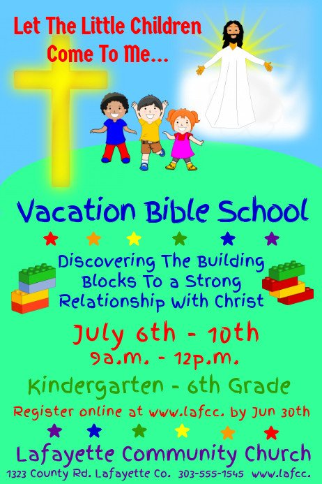 Vbs Flyer Template Vacation Bible School