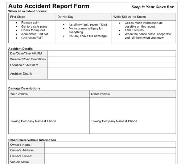 Vehicle Accident Report form Template 20 Accident Report Templates Docs Pages Pdf Word