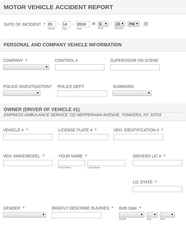 Vehicle Accident Report form Template Motor Vehicle Accident Report form Template