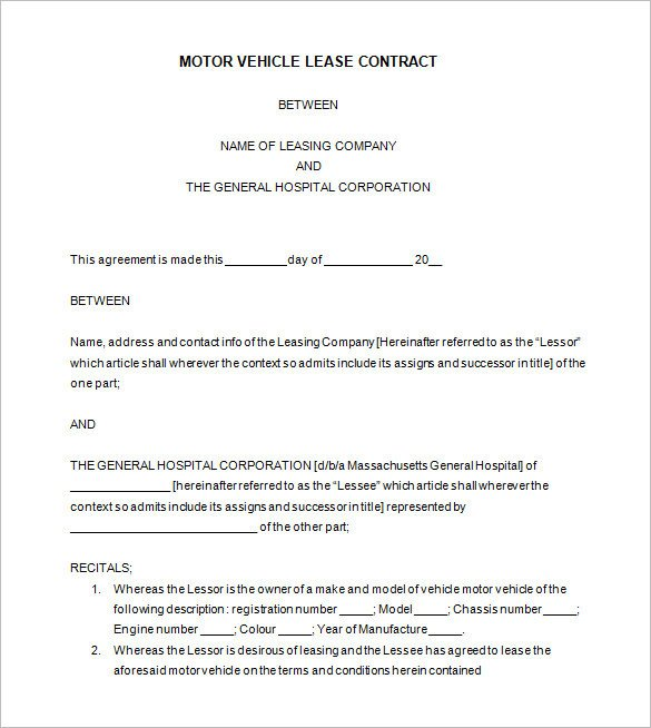 Vehicle Lease Agreement Template 11 Lease Contract Templates Free Word Pdf Documents
