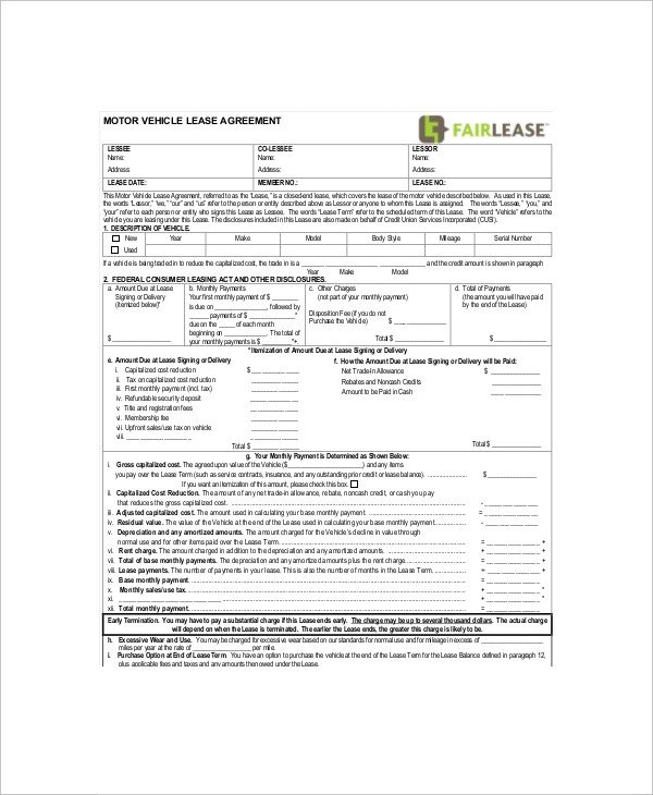 Vehicle Lease Agreement Template 11 Sample Vehicle Lease Templates Pages Docs