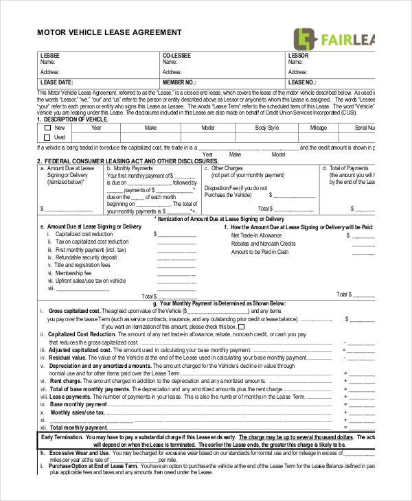 Vehicle Lease Agreement Template 14 Vehicle Lease Agreement Templates Docs Word